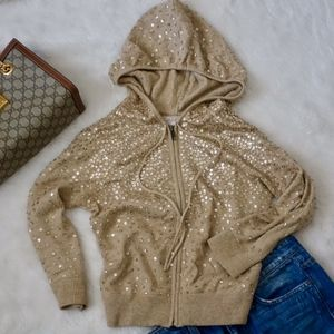 Cashmere gold sequined hoodie, zip up, XS La ROK
